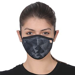 Wildcraft SUPERMASK W95 Plus Reusable Outdoor Respirator - SUBLIMATION TRIZI BLACK - Pack of 7